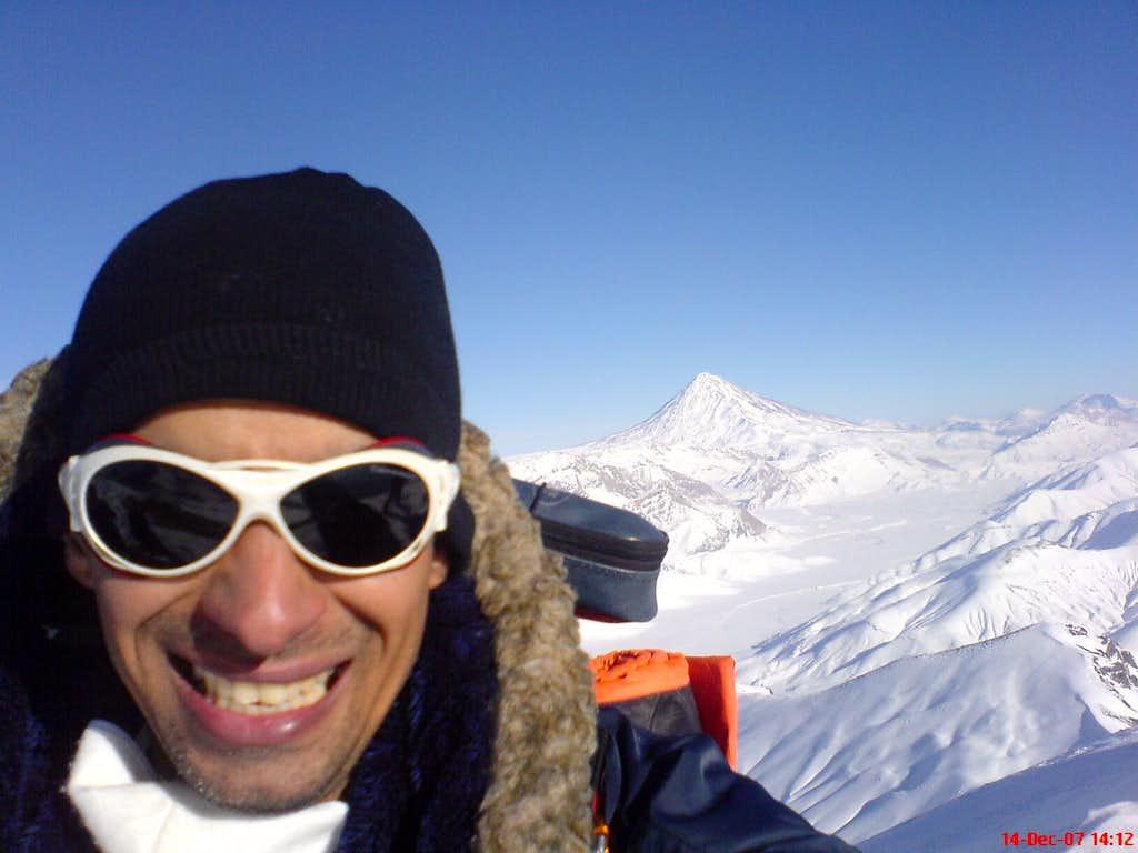 Damavand Volcano view from top of Rizan Mountain