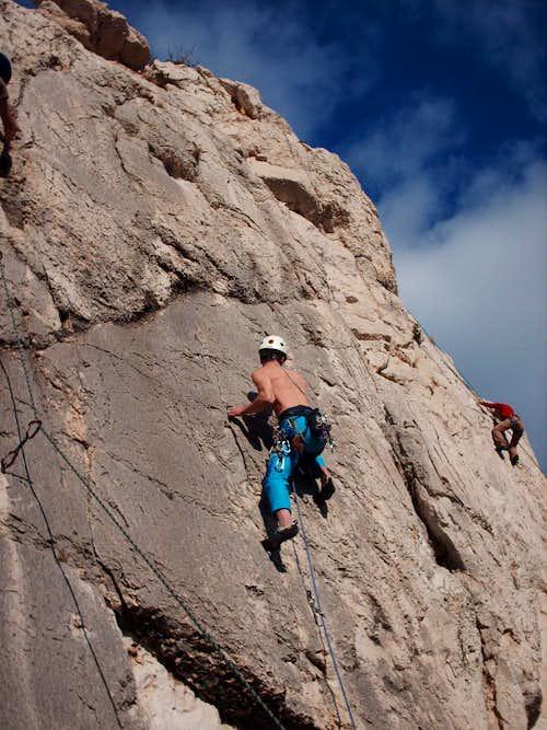 Rock climbing in winter