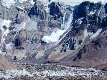 Avalanche in the South face of Aconcagua