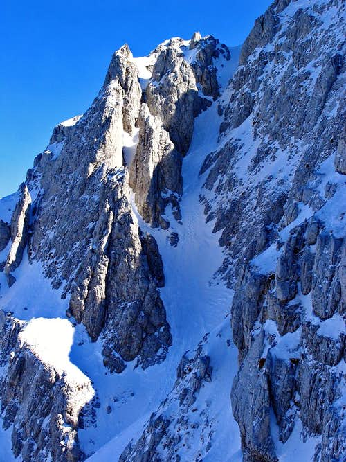 1° maggio Couloir seen from north