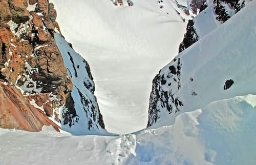 Looking down the 9 o\'clock couloir on Broken Top