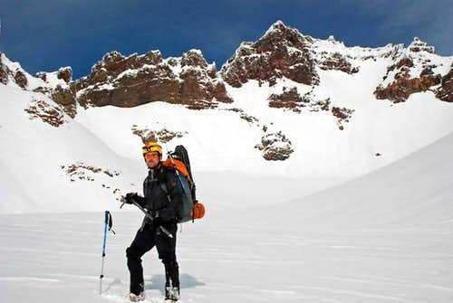 Standing at the bottom of the Crook Glacier on Broken Top