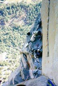 K. Solem belaying on The...