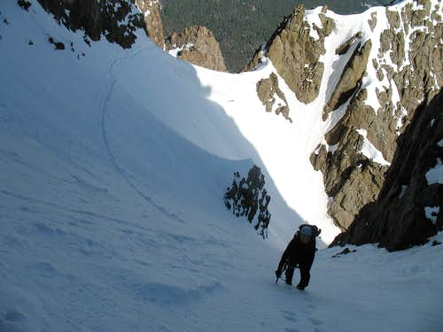 Climbing the Snake Couloir
