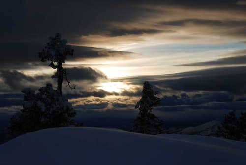 Sunset Behind Snowdrifts