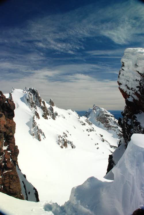 Looking off the 9 o\'clock couloir on Broken Top