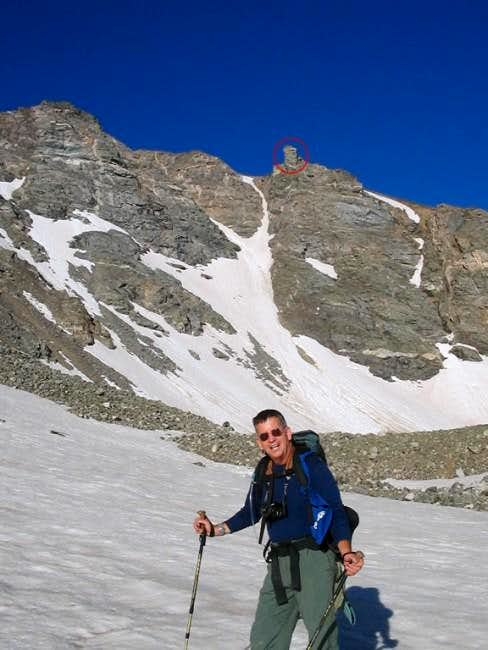 Hiking up a snow slope...