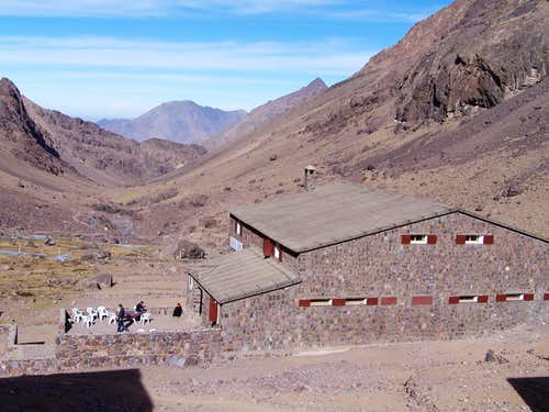 Toubkal hut and valley