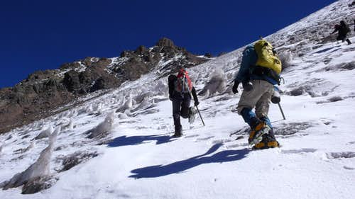 Snowfield on south slopes of Cerro Catedral