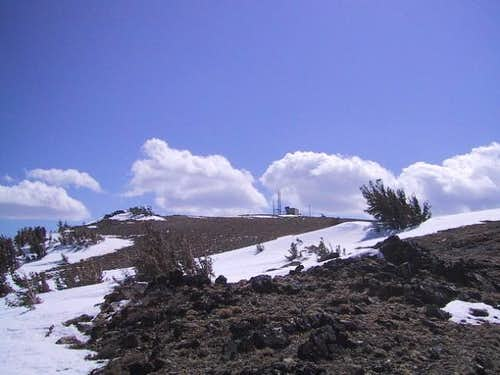 The wind swept summit area of...