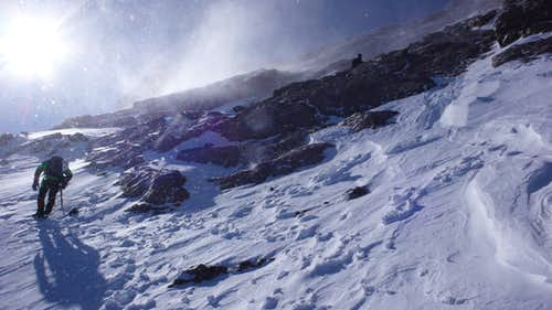 Battling Spindrift on Longs Peak\'s North Face