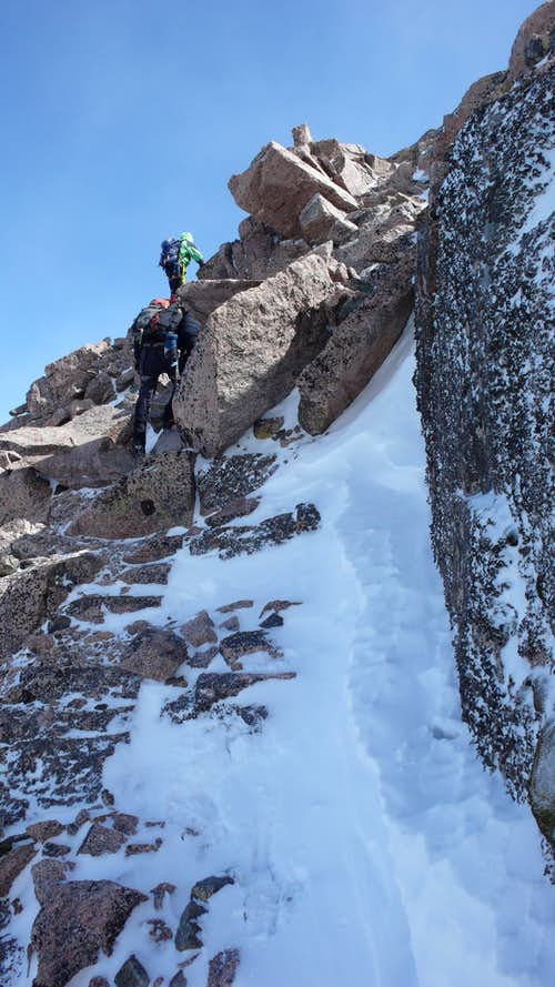 Scrambling at top of Longs Peak\'s North Face