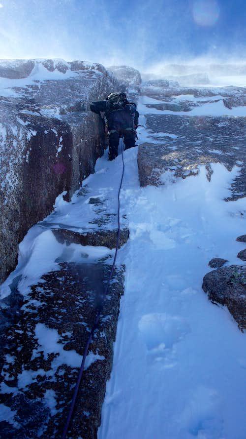 Longs Peak's North Face in Winter
