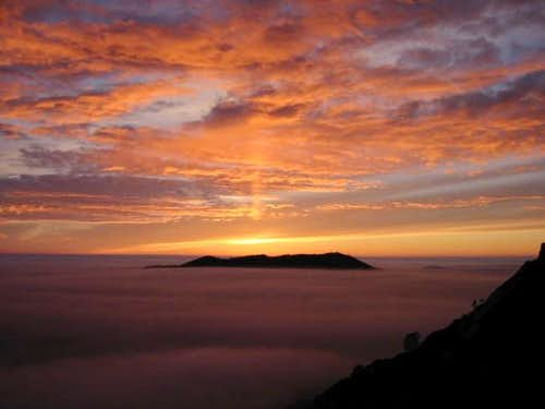 Sunset on a sea of clouds...