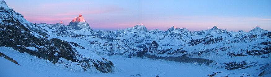 Panorama from Monte Rosa Glacier