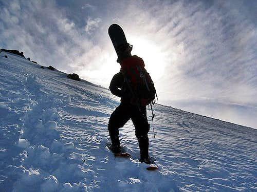 Johnny ascending the west ridge
