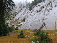 Bells Canyon wall above a hanging meadow