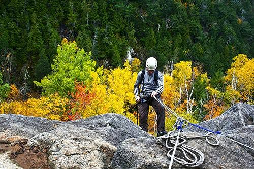 Rappeling into some peak foliage
