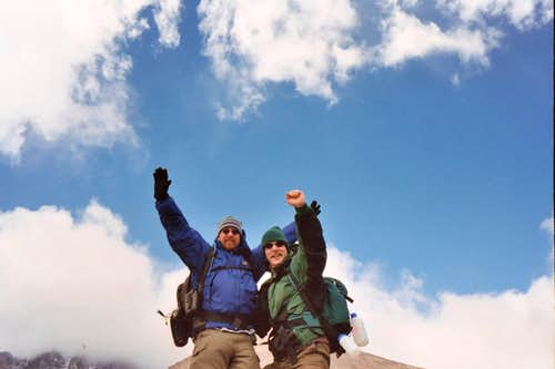 Longs Peak- Me and Dan-Typical staged fake Summit photo so we could mess with people back home