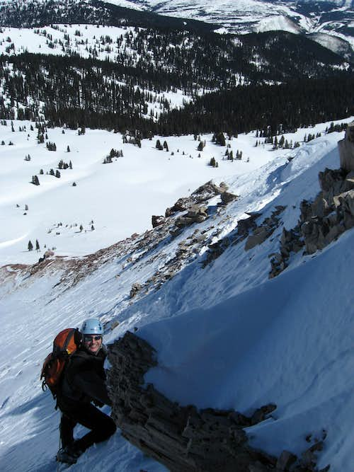 Steep Traverse below the Chimney