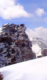 The summit rocks, plastered with rime