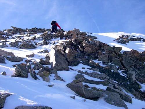 Jim ascending the steep rock...