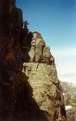 100 meter below the summit on...