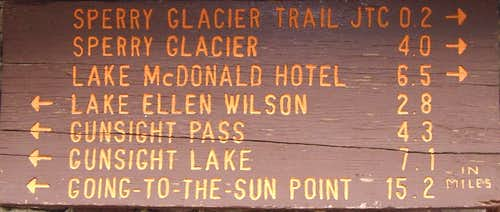 Trail Sign at Sperry Chalet