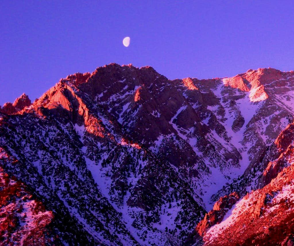 Sunrise and Moonset Lone Pine Peak