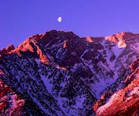 Sunrise and Moonset Lone Pine Peak