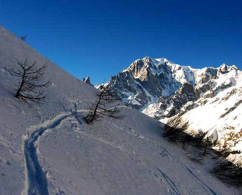 Ski route to Testa Bernarda.Mont Blanc on the background.