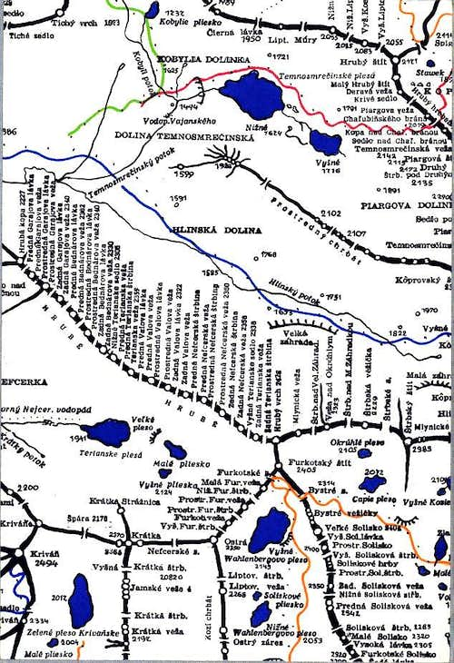 Map with old hiking trail direction