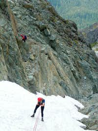 Rappelling start of north gulley