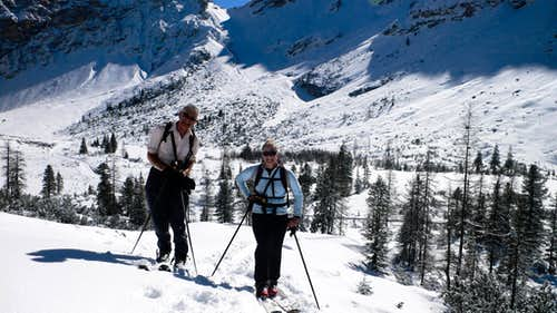 Skiing up the Fanes Valley