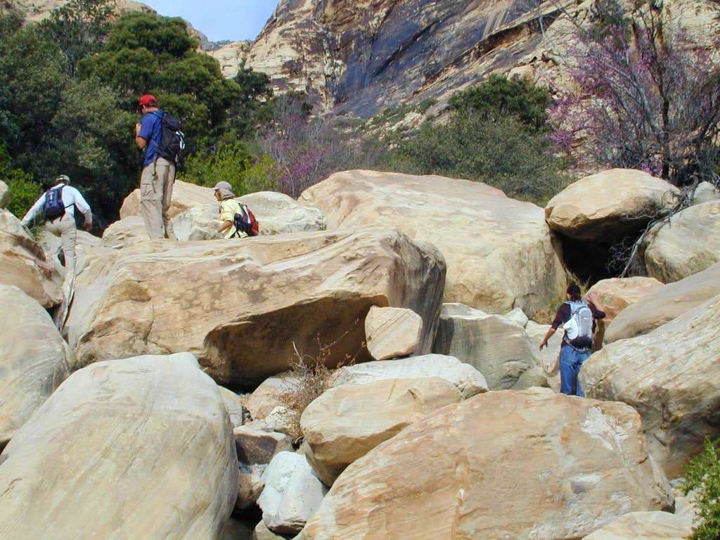 Bouldering up canyon