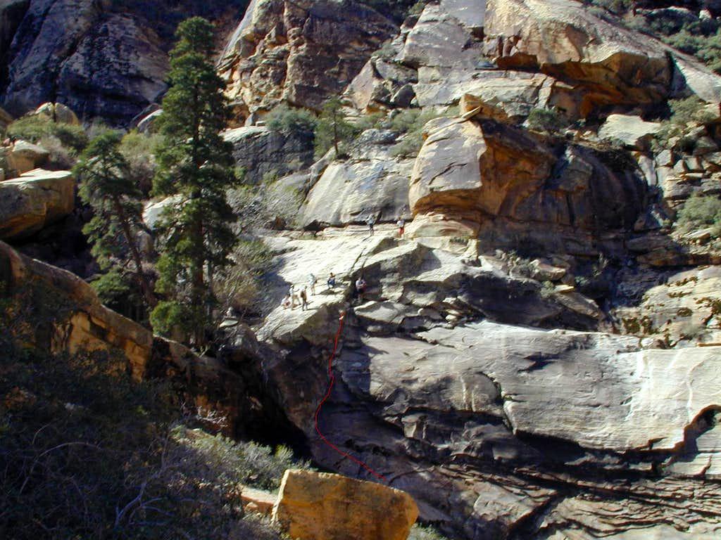 Alt climb to right of falls