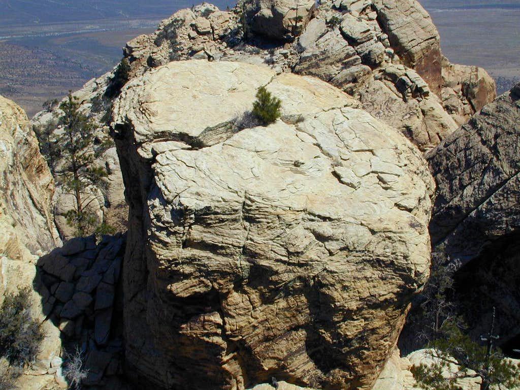 Boulder next to face climb
