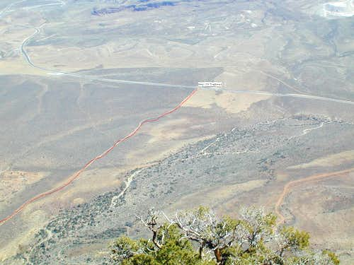 View of trailhead from summit