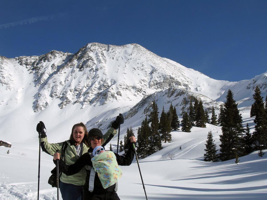 My sis, Jamie Lee's first snowshoe