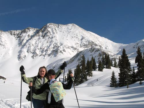 My sis, Jamie Lee\'s first snowshoe