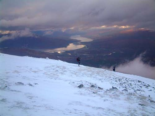 Descending Aonach Mor with...