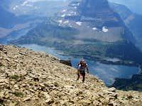 Tim approaching summit, Hidden Lake & Bearhat