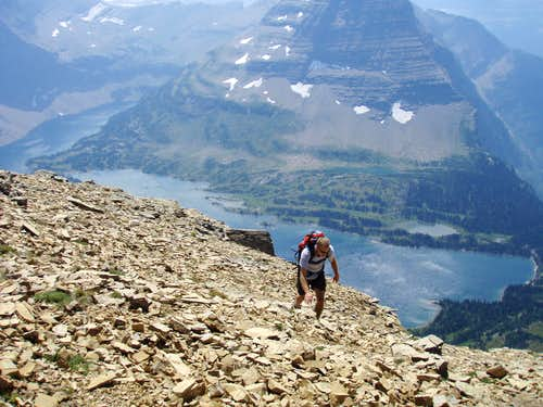 Tim approaching summit, Hidden Lake & Bearhat