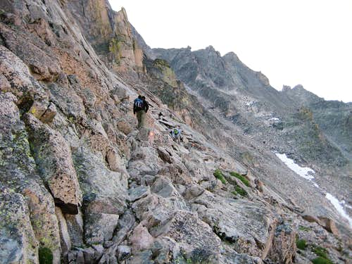 Longs Peak-The Ledges-Dan and K-Climbers and Trough in the distance