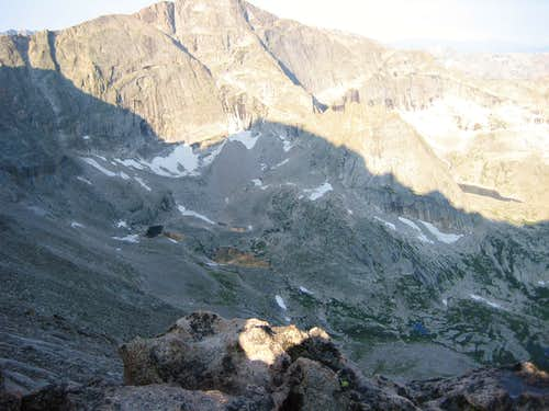 Longs Peak-From the Ledges-Looking down at Glacier Gorge