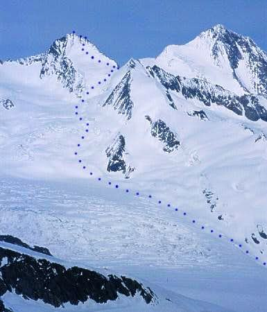 overview of the ski route to...