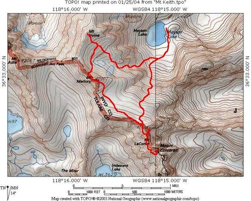 The route for my 4 summits...