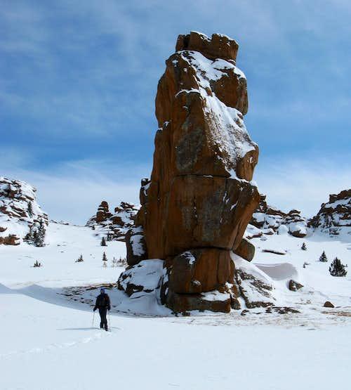 Bison Peak's towering monolith
