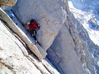 On the first roped pitch of the North Ridge