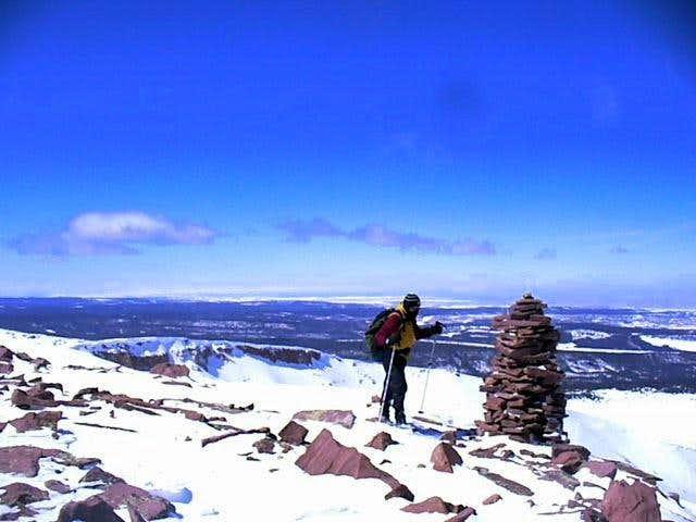 Summit cairn of Coffin Peak